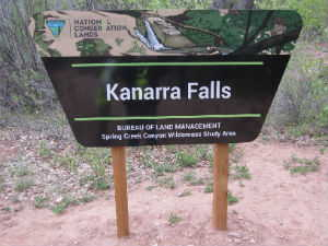 Kanarra Falls BLM sign at trailhead